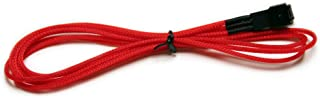 NZXT CB-3F600-R Individually Sleeved 3 Pin Fan Extension Premium Cable (600mm, Red)