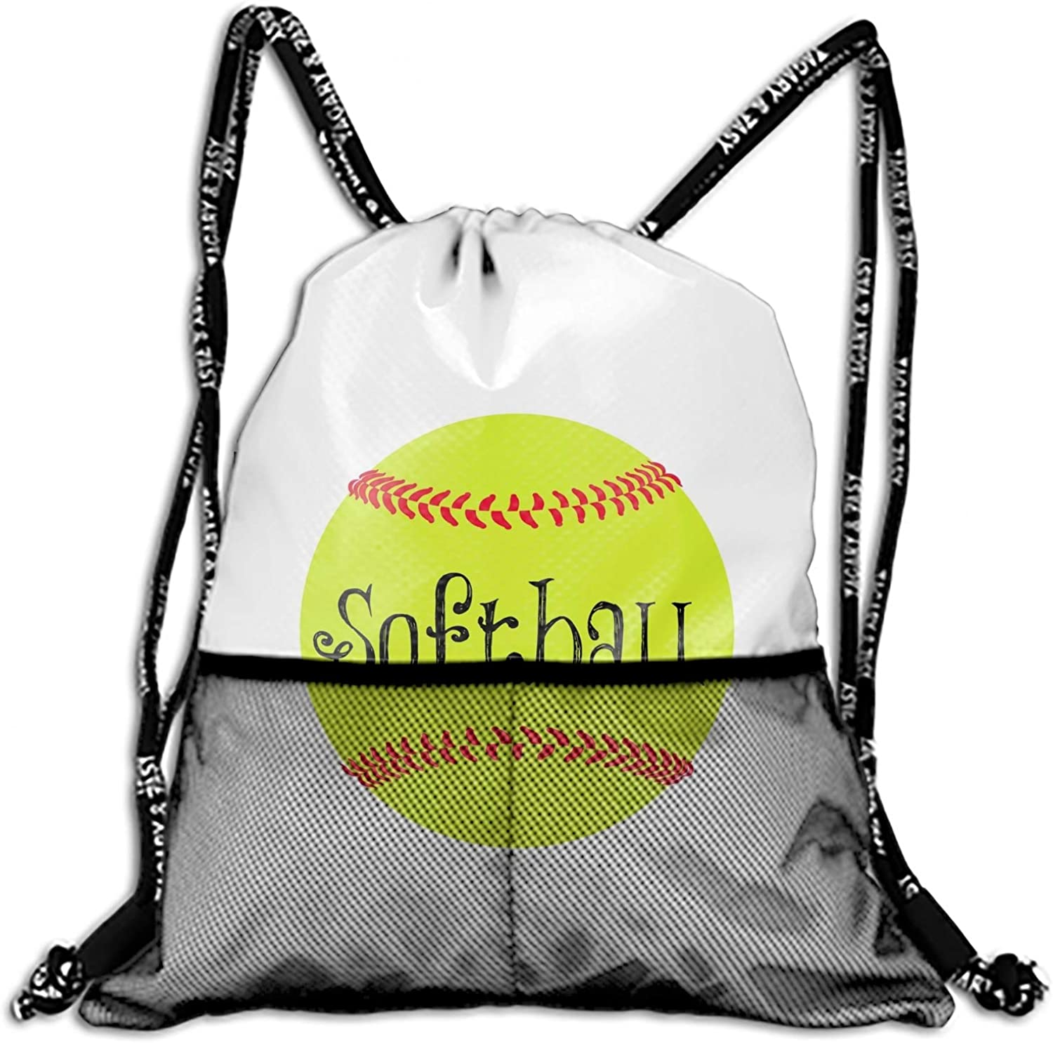 e51c342f090ef Drawstring Backpack Bag Yellow Softball Cinch Sack Backpack String ...