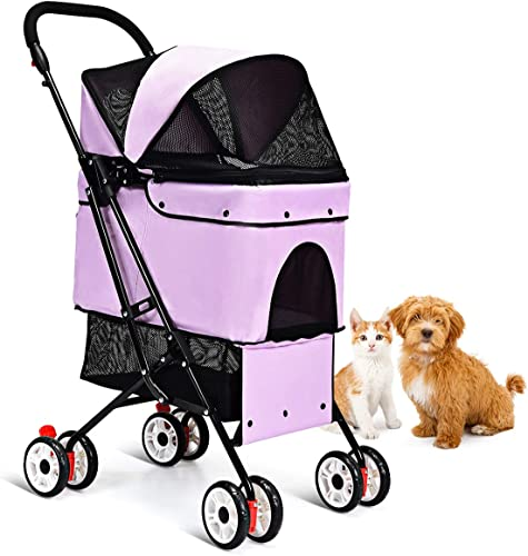 2021 Giantex discount Pet popular Stroller Cat Dog Stroller, One-Click Folding Pet Travel Carrier with Removable Liner, Storage Basket, Breathable Mesh, Installation-Free Pet Carrier Strolling Cart sale
