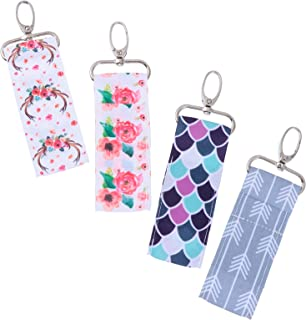 Lurrose 4pcs Chapstick Holder Keychain Lip Balm Lip Gloss Lipstick Holder Pouch Key Ring for Lanyards Bag Charm Key Pendant