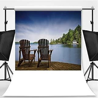 Wood Muskoka Chairs on a Lake Deck Theme Backdrop Photography Polyester Backdrop,125808,5x7ft