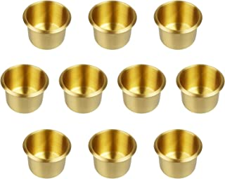 YH Poker Lot of 10 Solid Brass Drop In Cup Holder, Small
