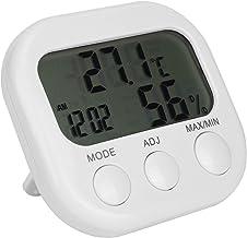 Emoshayoga Termómetro higrómetro Digital Fácil de Usar Resistente al Desgaste Ligero Termómetro higrómetro Termómetro Despertador A Prueba de óxido para el hogar