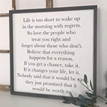 DASON Life is Too Short to Wake up with Regrets Family Sign in This House we do Enjoy The Gift of This Ordinary Day Grateful Sign Yoga Decor