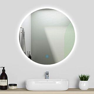 Miroir pour Salle de Bain Rond, mirroir de courtoisie, Illumination LED, éclairage intégré, avec Fonction Anti-buée 80cm