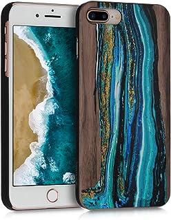 kwmobile Funda para Apple iPhone 7 Plus / 8 Plus - Carcasa de [Madera] - Case Trasero Protector [Duro] con diseño de Ondas
