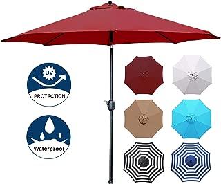 Blissun 9' Patio Umbrella Aluminum Manual Push Button Tilt and Crank Garden Parasol (Red)