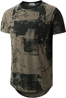 Mens Hipster Hip Hop Ripped Round Hemline Pattern Print T Shirt