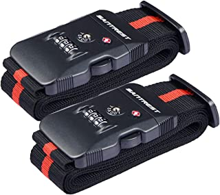 SANTREST Travel Luggage Strap Adjustable Suitcase Packing Belt with TSA Combination Lock, Red&Black 2 Pack (Multicoloured) - LS001-RK3 2P