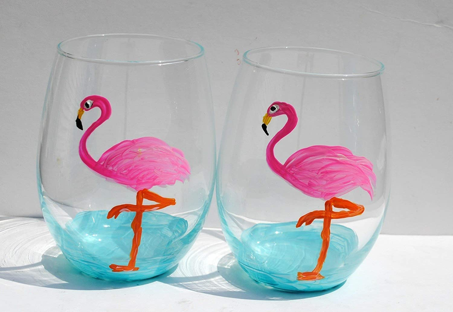 Stemless Pink Flamingo Popular Credence standard Hand Painted Set 2 Glasses Tropical Wine