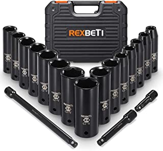 REXBETI 1/2-Inch Drive Deep Impact Socket Set, Laser-etched Markings, Metric, CR-V, 6 Point, 18-Piece Set