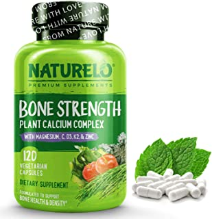 NATURELO Bone Strength - Plant-Based Calcium, Magnesium, Potassium, Vitamin D3, VIT C, K2 - GMO, Soy, Gluten Free Ingredie...