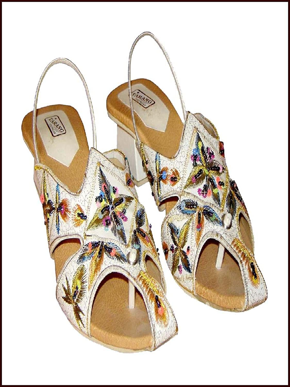 Sulbha Fashions Bridal Slippers Sole with Multicolor Embroidered Work.