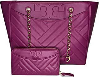 Tory Burch Alexa Flat Quilted Tote bundled with Tory Burch Alexa Zip Continental Wallet