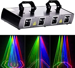 U`King Mini Dj Lights Party Lights 4 Beam Effect Sound Activated Strobe Light RGBY LED Music Lights By DMX Control for Disco Dancing Birthday Bar Pub Stage Lighting