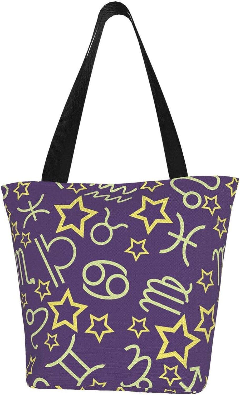 Cancer Zodiac Constellation Charm Purple Stars Themed Printed Women Canvas Handbag Zipper Shoulder Bag Work Booksbag Tote Purse Leisure Hobo Bag For Shopping