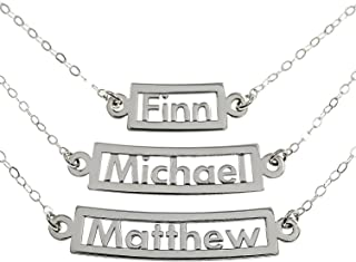 Personalized Necklace Curved 3 Name Sterling Silver Or 14k Plated Over Sterling Silver
