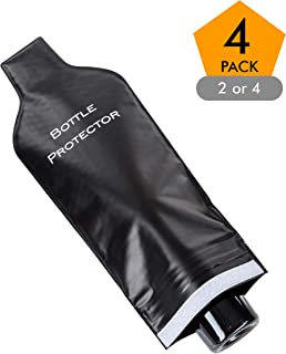 Reusable Wine Bottle Protector for Travel (4 Pack) - Wine Bags with Double Air Bubble Cushion Inner Skin and Leak Proof Exterior Ensures Safe Transportation in Luggage - Great Gift for Wine Lovers