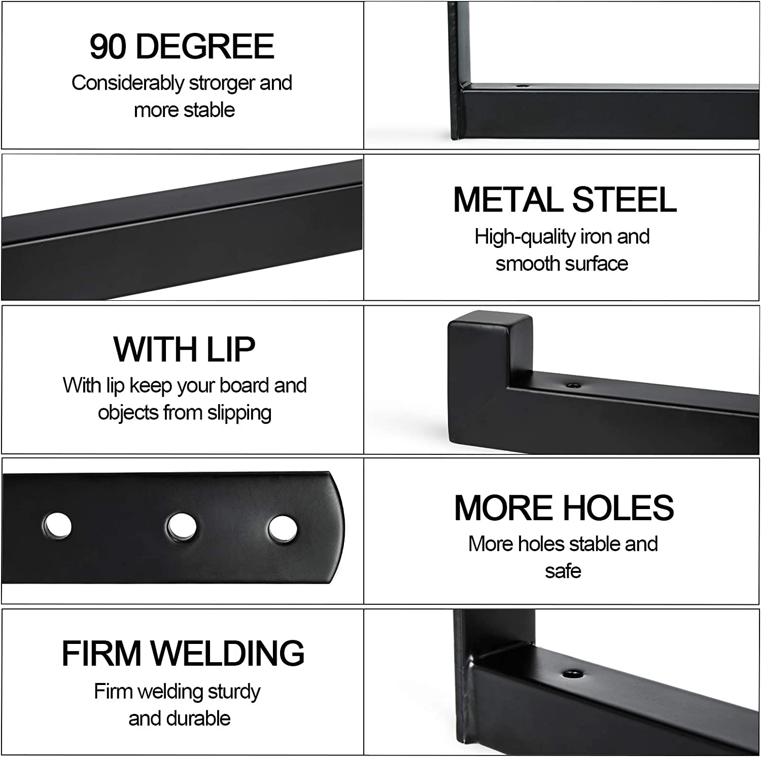 DOMISL 4 Packs Heavy Duty Thicken Shelf Brackets,Black Floating Retro Wall Mounted for DIY or Custom Wall ShelvingShelf Supports with Lip Includes Screws /& Wall Anchors 8 inch