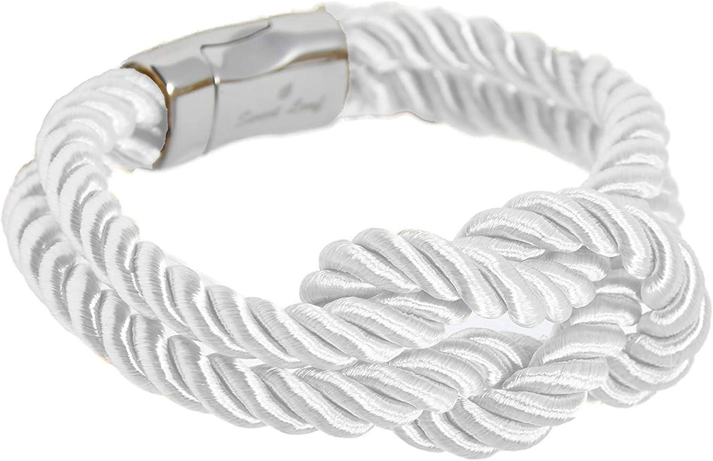 Pulsera Blanca para Hombre - Hecho a Mano - Algodón y Seda Genuina - Cierre de Acero Inoxidable Pulido Plateado - Clásico, Elegante y Moderno - (Ideal para una joyería de regalo)