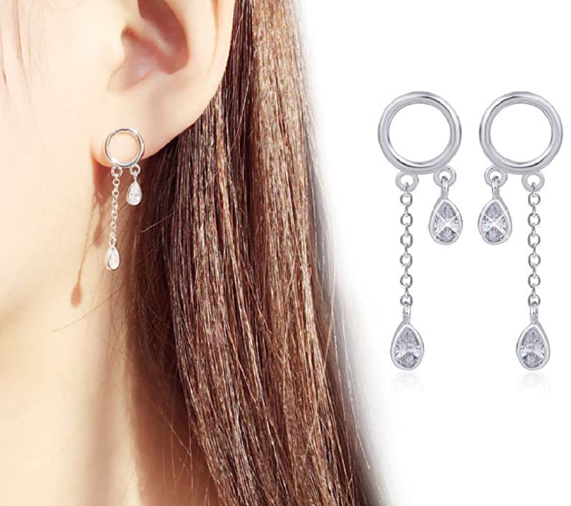 Leiothrix Hypoallergenic Geometrical Stud Hoop Earrings Jewelry Silver for Women and Girls