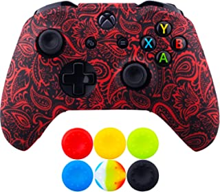 9CDeer 1 Piece of SiliconeTransfer Print Protective Cover Skin + 6 Thumb Grips for Xbox One/S/X Controller Foliage Red