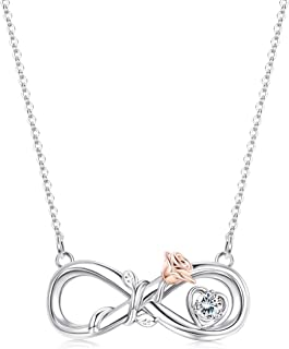 Sllaiss Sterling Silver Infinity Rose Pendant Necklace for Women Sets with Swarovski Zirconia 18K White Gold Plated Jewelr...