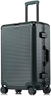 Kroeus ABS+PC Suitcase Anti-scratch finish Luggage Aluminum Protector Adjustable Trolley Suitcase 26 Inch Dark Green