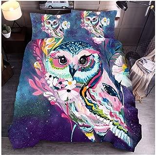 KFZ Bed Set (1 Duvet Cover Set+ 2 Pillowcases) 3D Animals Printing Bedding Set Twin Full Queen King Cat Dog Owl Design for Kids Adult Children Bedding (Flower Owl, King,91