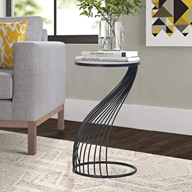 Decent Home End Tables Accent Coffee Side Table Indoor Outdoor Decorative Nesting Z-Shape Nightstands,Black