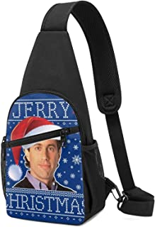 Hdadwy Seinfeld Jerry Christmas Knit Pattern Sling Mochila Sling Bag Black Crossbody Daypack Mochila informal Bolsa de pec...