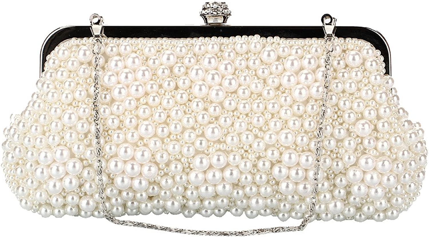 Missfiona Women's Wedding Bridal Pearls Beaded Formal Clutch Bag Jeweled Drop-in Formal Evening Bag with Chain