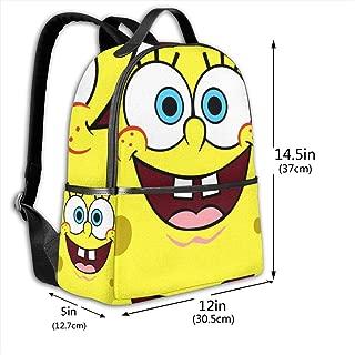 Classic School Backpack Spongebob Squarepants Unisex College Schoolbag Travel Bookbag Black