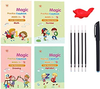 by LU Store 4 Packs Books Reusable Copybook with Magical Pen (The Writing Will Disappear) - Magic Practice Copybook - Alph...