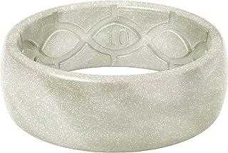 Groove Life سيليكون خاتم زفاف للرجال - خواتم مطاطية مسامية للرجال، تغطية مدى الحياة، تصميم فريد، خاتم رجالي مريح - معدني أصلي