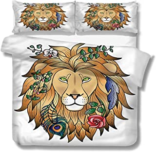 Mademai King Size Duvet Cover Set Zodiac,Lion with Flower Decorative 3 Piece Bedding Set with 2 Pillow Shams