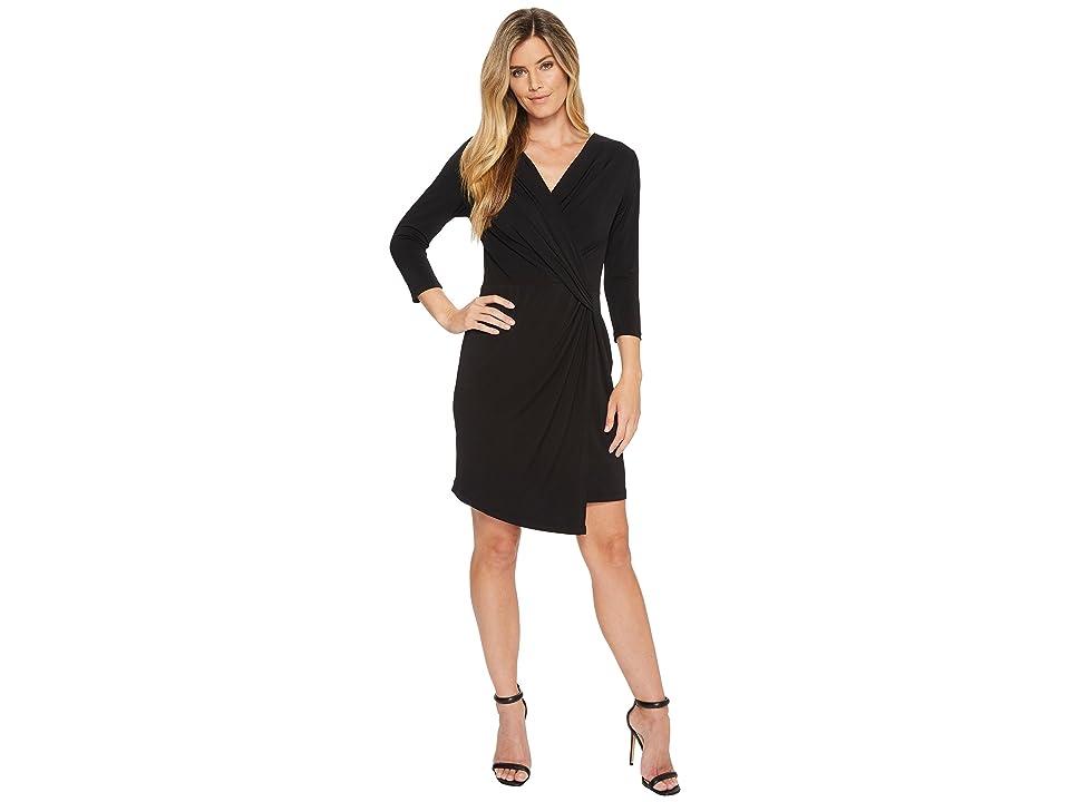 Karen Kane 3/4 Sleeve Crossover Dress (Black) Women