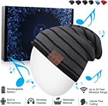 Bluetooth Beanie Hat, Winter Music Cap with HD Stereo Headset Wireless Headphones, Bluetooth Cable Knit Beanie for Sports, Built-in Mic Washable