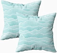 Abstract Turquoise 18x18 2Pack Pillow Cases,Decor Pillow Covers,TOMWISH Zippered Decorative Throw Cotton Pillow Case Cushion Cover for Home Decor sea wave pattern vector seamless ocean stripes linear