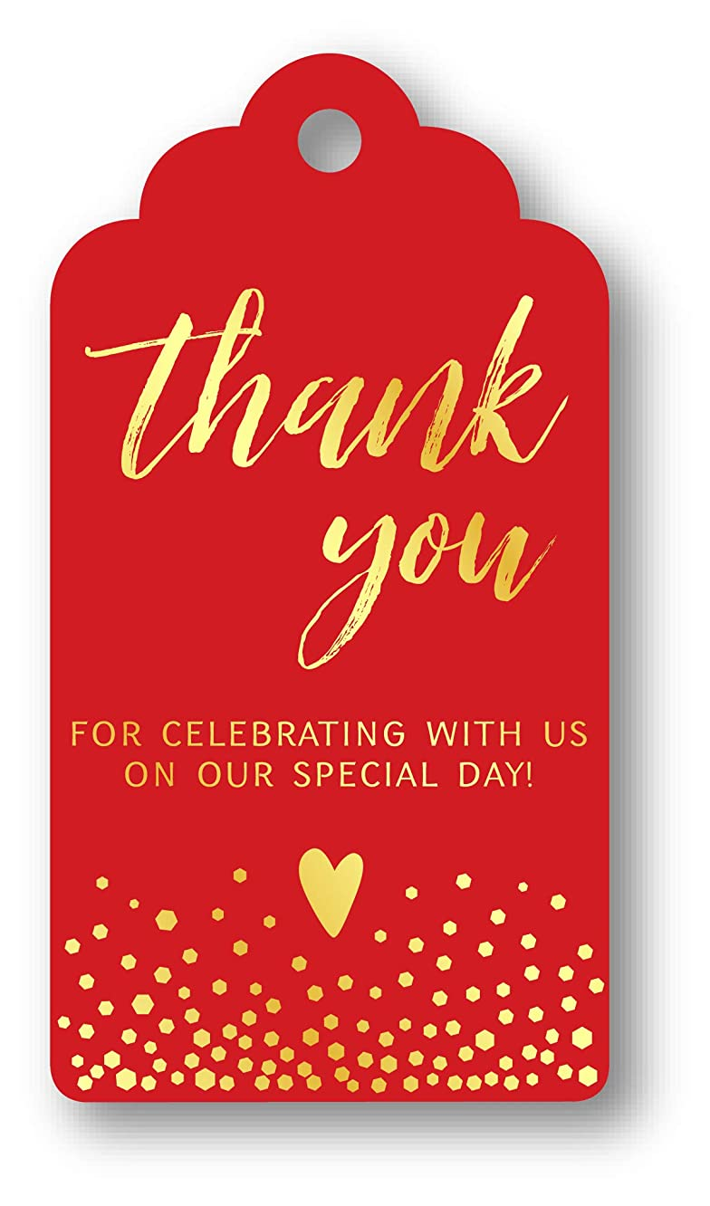 Summer-Ray 50pcs Gold Foil Hot Stamping Royale Thank You for Celebrating with Us Wedding Favor Gift Tags (Red)