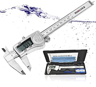Digital Caliper Micrometer Measuring Tool - 6 inch Stainless Steel Electronic Vernier Calipers, IP54 Waterproof Accurate Gauge with LCD Screen Inch Fractions Millimeter Conversion by TENGYES