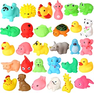 Rainbow yuango Pack of 30 Mini Colorful Animals Rubber Bath Toys Cute Rubber Assorted Wildlife Animal Characters for Baby Bathtub Fun Time