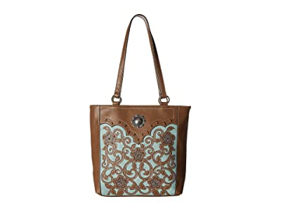 M&F Western Calico Kate Conceal Carry Tote (Brown) Handbags