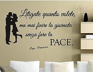 ADESIVI MURALI FRASI Papa Francesco Fate la Pace WALL STICKERS FRASE CITAZIONE ADESIVO MURALE DECORAZIONE INTERNI StickerD...