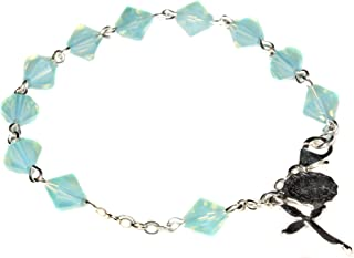 Womens Rosary Bracelet made with Pacific Opalized Green Swarovski Crystal (October)