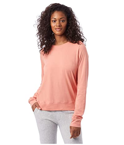 Alternative Heavy Wash Jersey Pullover Crew (Sunset Coral) Women