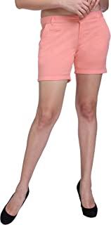 KVL Cotton Casual Shorts for Women-Salmon Pink