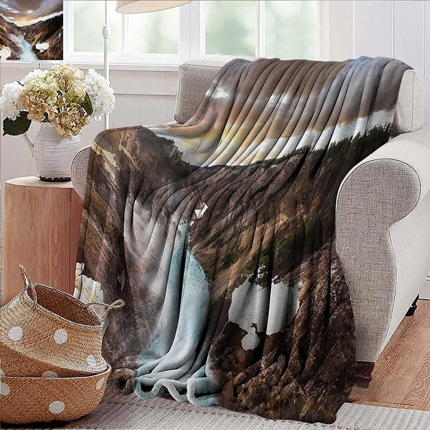 PearlRolan Weighted Blanket for Kids,Yellowstone,Canyon in Yellowstone Dramatic Sky Dark Clouds Setting Sun Landscape Scenic Photo,Brown,Weighted Blanket for Adults Kids, Better Deeper Sleep 50 x60