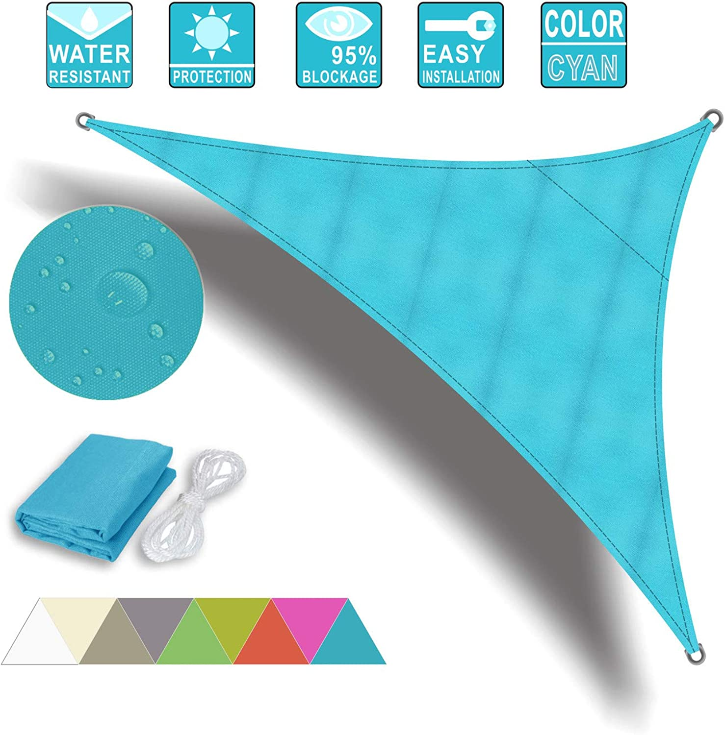 Ommda 95% Sunscreen Anti UV Water Resistance Oxford Cloth Triangle Sun Shade Sail Awning Shade for Outdoor Garden Patio Party Cyan 5x5x5m