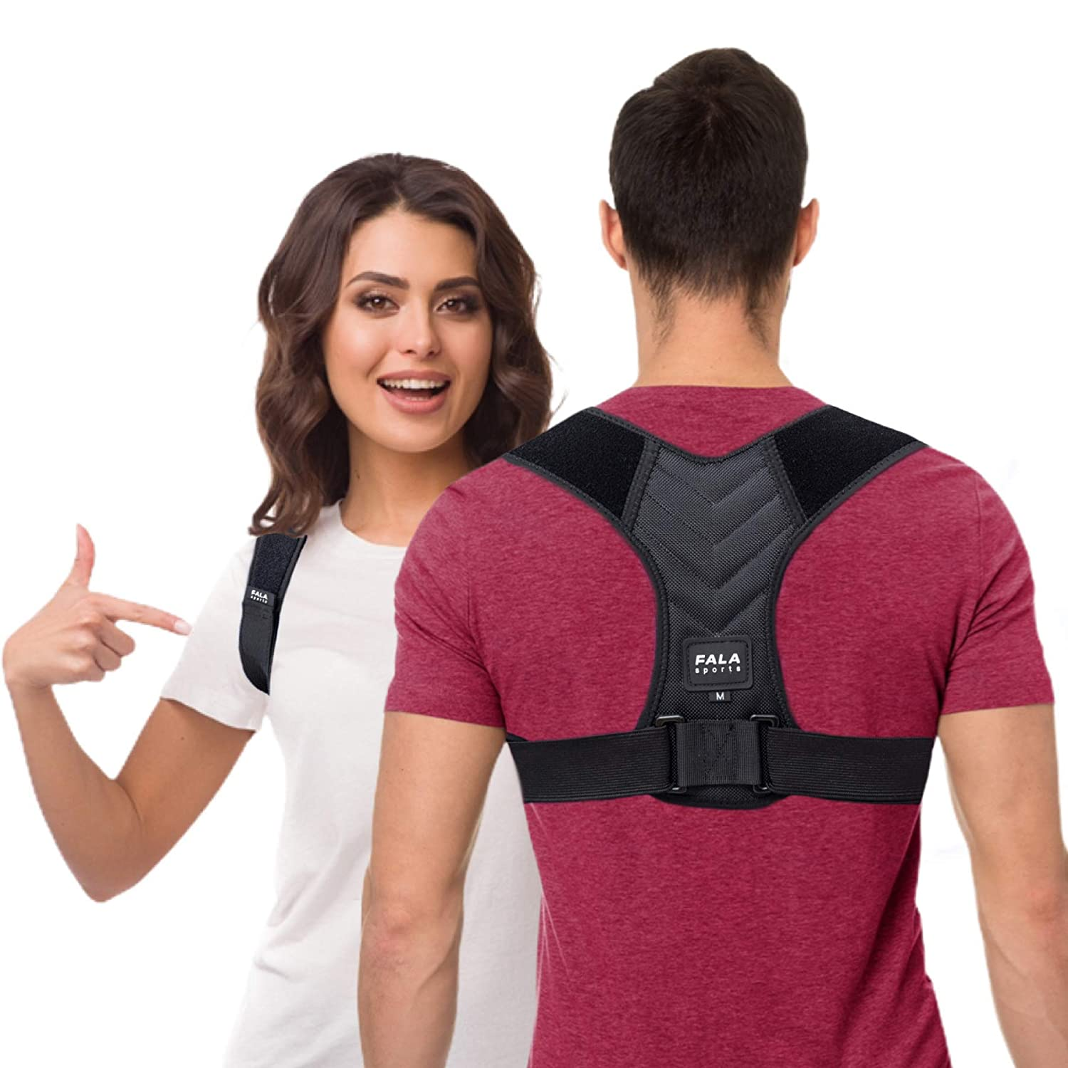 Buy Fala Sports Posture Corrector for Women and Men – Adjustable Shoulder Brace for Neck and Upper Back Pain Relief – Correct Slouching and Hunching and Promote Straight Spine with Lumbar Support